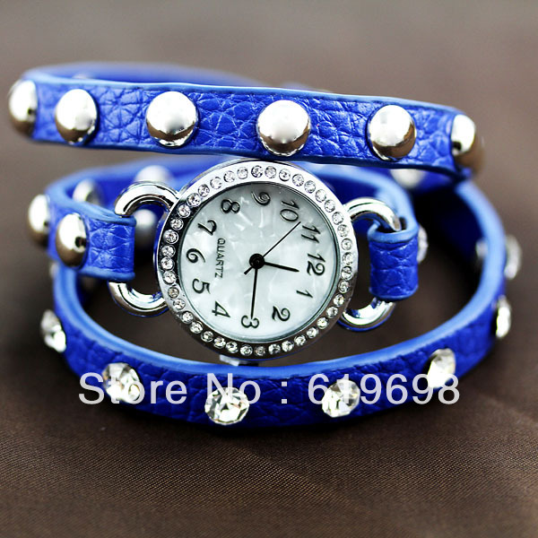 Free Shipping luxury watch shell Drill dial rivet restoring ancient ways is popular leather twine punk watches(China (Mainland))