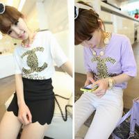 2013 summer women's leopard print small short-sleeve T-shirt Women new arrival summer