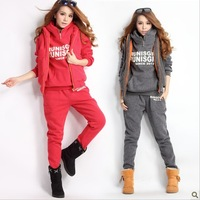 2013 women's tracksuits women sport suits wear casual set with a hood fleece sweatshirt three piece set