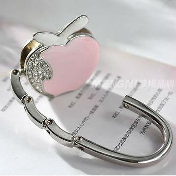 Free shipping 1 PC fashion originality PINK apple design Handbag Folding Bag Purse Hook Hanger Holder for gift sx055