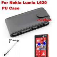 Flip PU Case Mobile Phone Case+Screen Protector + Mobile Phone Pen  For  Nokia Lumia 620