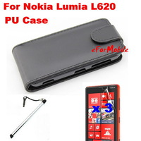 Flip PU Case Mobile Phone Case+Screen Protector + Mobile Phone Pen  For  Nokia Lumia 620