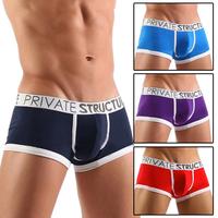 Hot Sale New Sexy Men's Male Man Cotton Underwear Short Lingerie Pouch Trunks Bulge Bulging Low Waist Comfy Boxer Shorts 5Colors