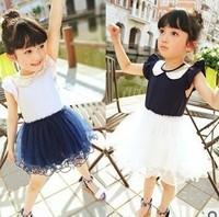 Female child paillette ladies turn-down collar lace vest one-piece dress