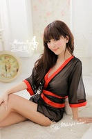 Sexy chiffon soft yarn perspectivity kimono sleepwear bathrobe photo service sauna  womens dresses