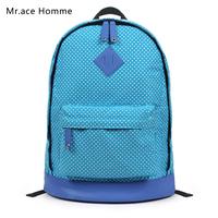 Free Shipping Fashion  preppy style polka dot backpack Canvas backpacks school Soft shoulder bag laptop bags