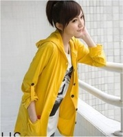 Fashion New Korean Ladies Solid Color Hooded Cardigan Sweater  Coats