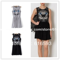 Free Shipping X821 European Style 2013 New Fashion Cute Cat with Blue Eyes Elastic Waist Swing Lap Mini Dress Black/Grey(China (Mainland))