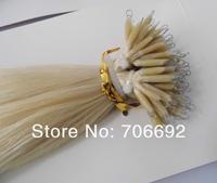 Bulk Stock: 18'' 20'' #60 blonde Nano Rings 100s/lot 1g/s Indian remy 100% Human Hair Extensions + 100pcs Nano Rings AAA Grade