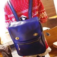 2013 brief fashion preppy style PU flip women's backpack handbag backpack school bag casual bag