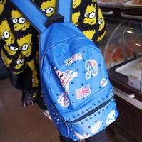 2013 punk bag rivet handsome man bags women's handbag backpack middle school students school Handbags lovers Shoulder bag