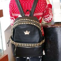 2013 rivet savager handsome punk star women's handbag backpack casual bag