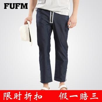Fufm men's clothing access control zipper 2013 summer sports pants male 100% cotton jeans