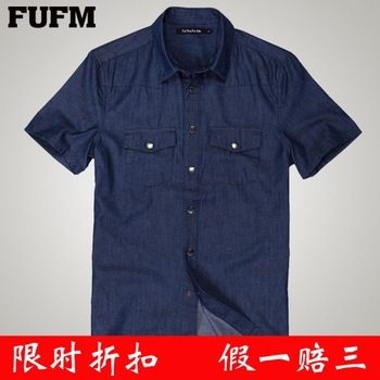 Fufm shirt 2013 summer male denim blue tooling casual short-sleeve shirt men's