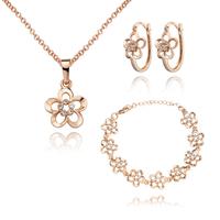 18K Gold Plated Nickel Free Necklace Earrings Bracelet Sets 2013 Latest Fashion Jewelry Set S061