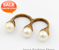 Min. Order $10, Fashion Rings Jewellery, Korea style,Top Fashion,Pearl double Finger Rings,Resizable Rings,Accessories