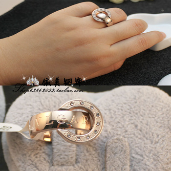 Rotating fashion lovers titanium rose gold color gold male women's ring