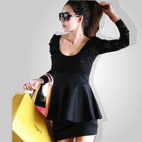 Spring and summer one-piece dress long-sleeve cutout sexy slim basic slim hip one-piece dress
