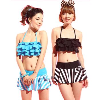 Women's hot springs bikini split skirt swimsuit bikini big small steel push up swimwear