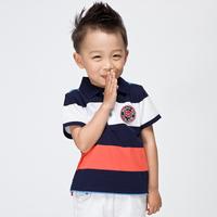 Balabala BALABALA children's clothing t-shirt male child 100% cotton short-sleeve child turn-down collar stripe short-sleeve