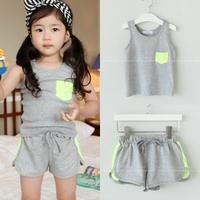 Meninas Vestir Kids Clothes Sets Clothing Set Children's Clothing Female Child Summer Pocket Spaghetti Strap Vest Shorts Set L03