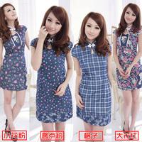 A 2012 summer vintage short qipao water wash denim cotton fashionable casual cheongsam dress 786