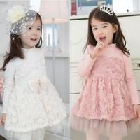 2014 Christmas Vestidos Infantis Meninas Vestir Children's Clothing Female Child Spring Flower Girl Princess Dress Rose Summer