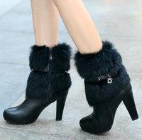Black Rabbit Fur Zipper #x13 High Heel Ankle Boots,US 4-8.5,Womens/Ladies Shoes