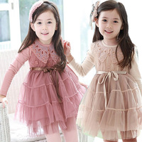 2014 Vestidos Infantis Girl Dress Christmas Children's Clothing Female Child Spring Fashion Lace Long-sleeve Dress Gauze Summer