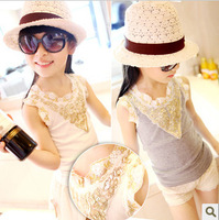 2013 summer girls clothing baby vintage gold paillette lace laciness vest sleeveless vest