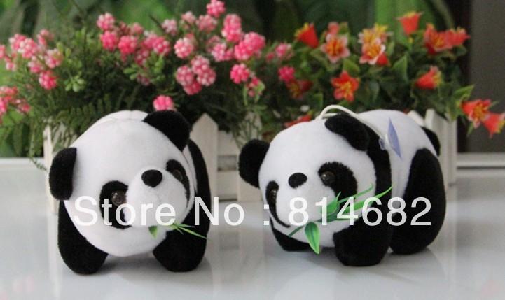 Wholesale 14CM Mini Plush Toy Doll White/Black Panda With Bamboo
