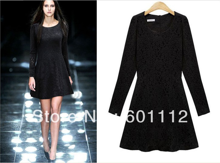 2013 spring summer ladies'dress Lace long-sleeved dress Z510 High Quality free shipping za(China (Mainland))
