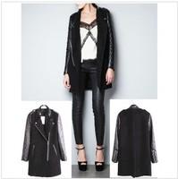 2012 New Fashion Women's PU leather Sleeve Windcoat Winter Coat Overcoat free shipping  S/M/L