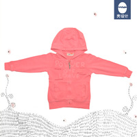 freeshipping cotton french fleece kid girl washed pink coat with hood peace and love