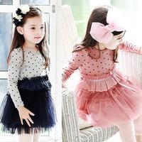 2014 Christmas Meninas Vestir Vestido Infantil Spring Female Child 100% Cotton Dot Clothing Tulle Dress One-piece Long-sleeve
