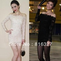 2013 New Spring Strapless Lace Hollow-out Sheath Sexy Woman Evening Dress 2 Colors Off the shoulder Dress