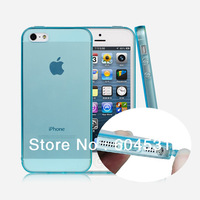 For iPhone 5 transparent style TPU case with dust plug 500 pcs/lot mix color Free shipping by Fedex