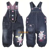 Free shipping Spring and autumn clothing bib pants next babypep 100% baby cotton denim bib pants jumpsuit