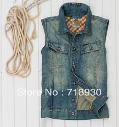 Free shipping Spring and autumn men's t nostalgia washing white denim vest male us flag denim vest(China (Mainland))