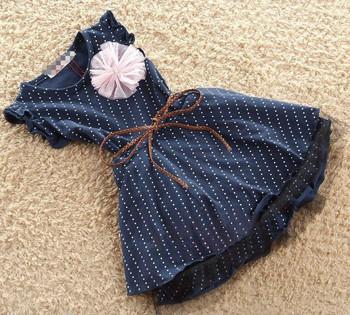 Baby Toddler Girl princess dress summer nature cotton Korean Girls polka dot flower dress nvay blue children fashion dress
