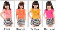 Free Shipping (5pcs/lot )2013 New Girl Dress Bow Decoration Stripe design child's dresses 5 size 4 color Girl's princess dress