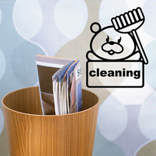 3x Free Shipping Bear Cleaning Bathroom Sticker Removable Art Vinyl Wall Glass Window Home Decoration Decal W007(China (Mainland))