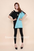 Free shipping!2013 Summer Fashion Dew shoulder personality Large size Loose t shirt Four color Four size