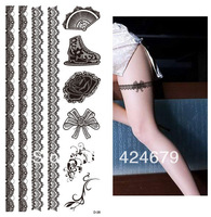 Free shipping fashion tattoo posted a rose bud silk lace, bowknot, boots, fan is a pack of 10