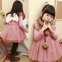 2013 princess puff skirt dress long-sleeve dress 3147  100-140cm,5 sizes/lot each color