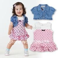 (5pcs/lot) Children's Outfits Sets Baby Girls summer clothing sets (cake dress+vest) 2 piece sets kids clothing set