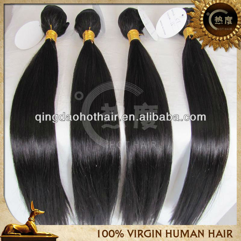 Cheap unprocessed unprocessed virgin brazilian hair weaving straight 1b free shipping(China (Mainland))