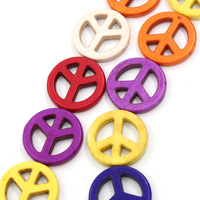 "2013 Fashion Punk Fit Jewerly DIY 2 Strands Turquoise Loose Beads Peace Sign Mixed Color 25mm(1"") Dia. Free Shipping"