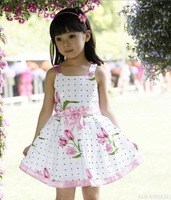 Retail  2013 hot-selling 1pcs Girls dresses kids Big Flower clothes Cotton Dresses Children's clothing Free shipping