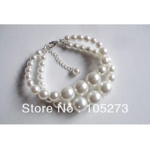 Wholesale Designer Sterling Silver 2 Strand White Pearl Bracelet Vintage Bridal Jewellery 4-10mm 7-9'' Fashion Jewelry Free Ship(China (Mainland))